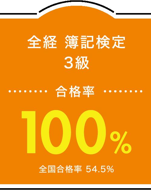 全経 簿記検定3級 合格率100%